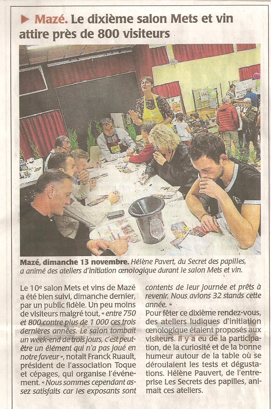 Article salon 2016 courrier de l'ouest du 15.11.16